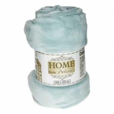 Flanellen deken/plaid grijsblauw 150 x 200 cm