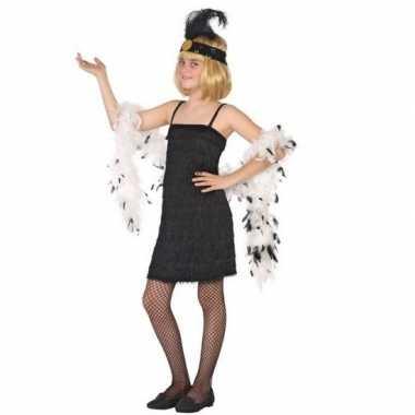 Flapper franje verkleed kostuum/jurkje zwart voor meisjes