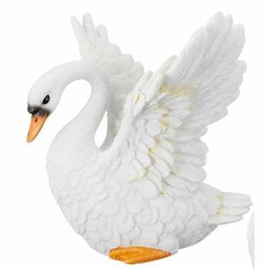 Flapperende witte zwaan beeldje 13 cm