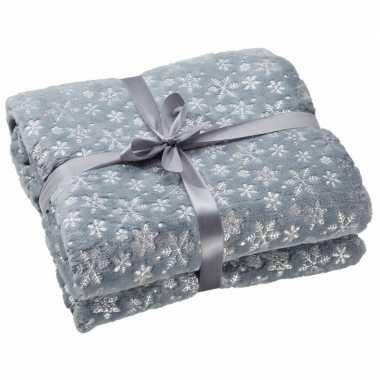 Fleece deken grijs met sneeuwvlokken print 130 x 150 cm trend