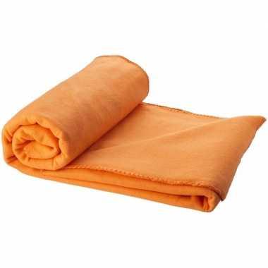 Fleece deken oranje 150 x 120 cm trend
