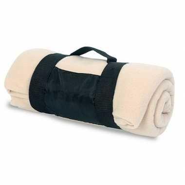 Fleece deken/plaid beige met afneembaar handvat 160 x 130 cm