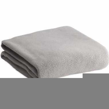 Fleece deken/plaid licht grijs 120 x 150 cm