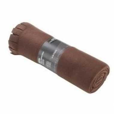 Fleece deken/plaid met franjes bruin 130 x 170 cm