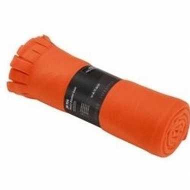 Fleece deken/plaid met franjes oranje 130 x 170 cm