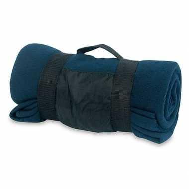 Fleece deken/plaid navy blauw met afneembaar handvat 160 x 130 c