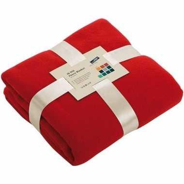 Fleece deken/plaid rood 130 x 170 cm