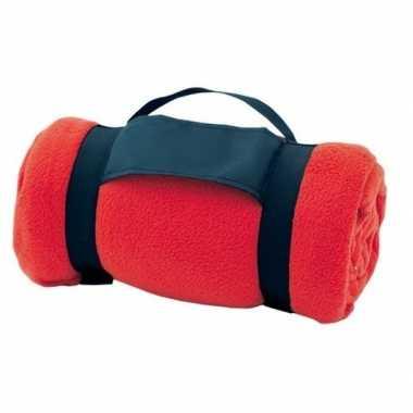 Fleece deken/plaid rood met afneembaar handvat 160 x 130 cm