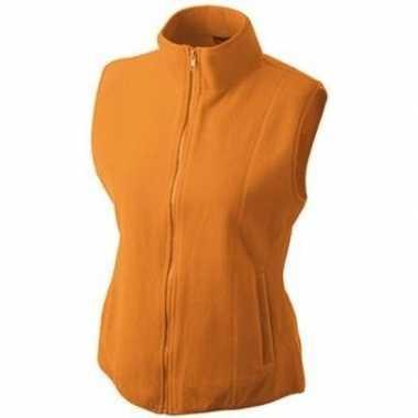 Fleece outdoor bodywarmer oranje voor dames