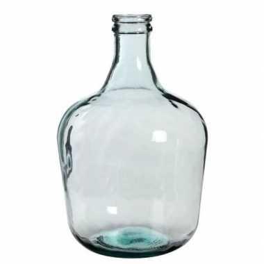 Fles vaas diego 27 x 42 cm transparant gerecycled glas