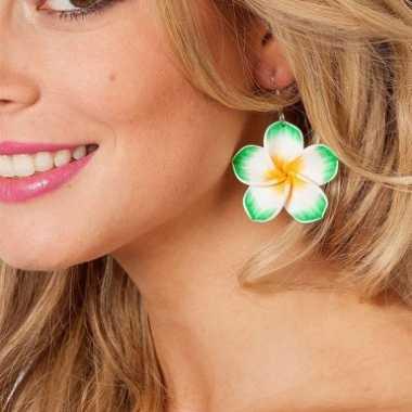 Fleurige bloemen oorbellen groen