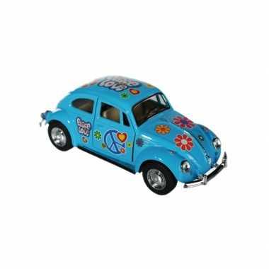 Flower power beetle blauw autootje