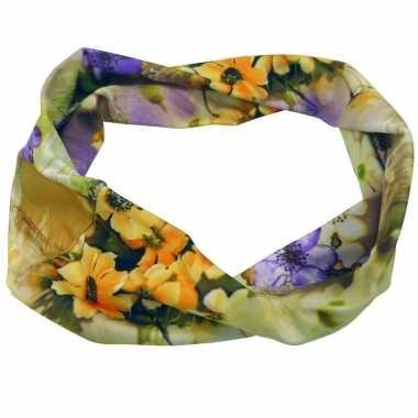 Flower power hoofd haarband geel/paars/oranje