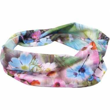 Flower power hoofd haarband groen/roze/blauw
