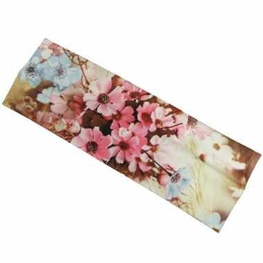 Flower power hoofd haarband roze/blauw