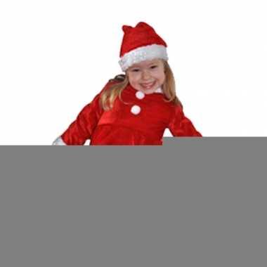 Fluwelen rood met witte meisjes kerstjurkje