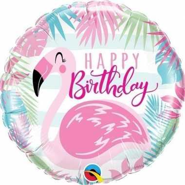 Folie ballon happy birthday flamingo 45 cm