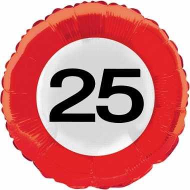 Folie ballonnen 25 jaar verkeersbord