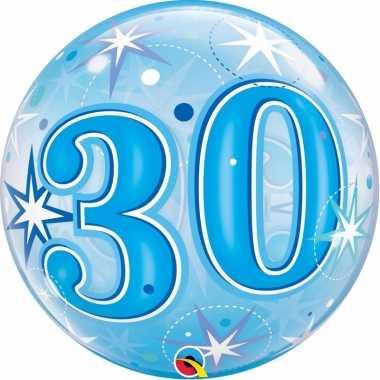 Folie helium ballon 30 jaar blauw 55 cm