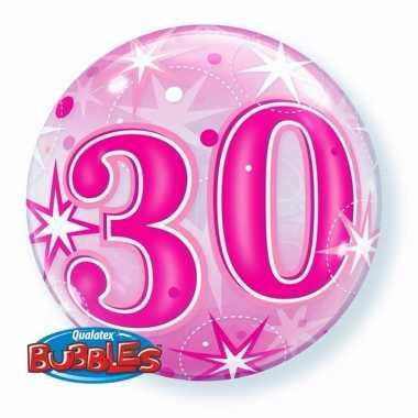 Folie helium ballon 30 jaar roze 55 cm