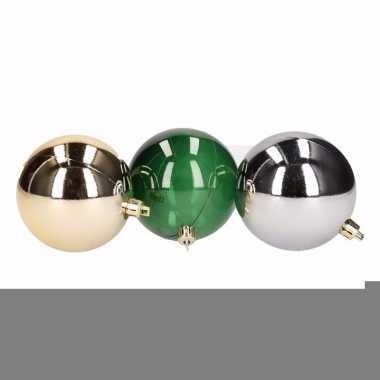 Forest christmas mix kerstballen pakket goud/zilver/groen