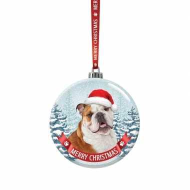 Fout kerstkado dieren kerstbal 7 cm hond bulldog