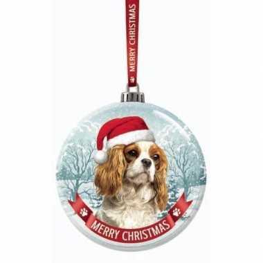 Fout kerstkado dieren kerstbal 7 cm hond cavalier king charles spanie