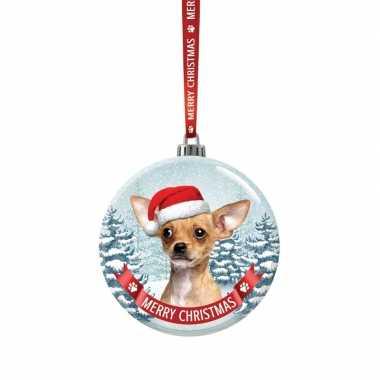 Fout kerstkado dieren kerstbal 7 cm hond chihuahua