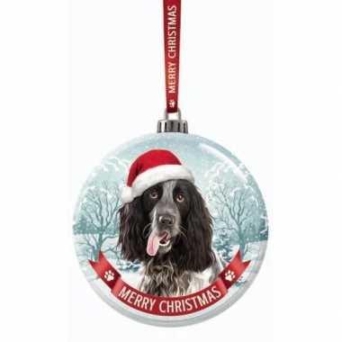 Fout kerstkado dieren kerstbal 7 cm hond engelse cocker spaniel zwart