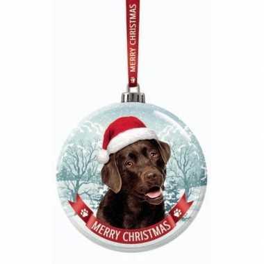 Fout kerstkado dieren kerstbal 7 cm hond labrador bruin