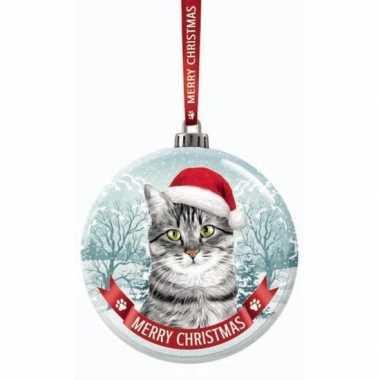 Fout kerstkado dieren kerstbal 7 cm kat/poes britse korthaar