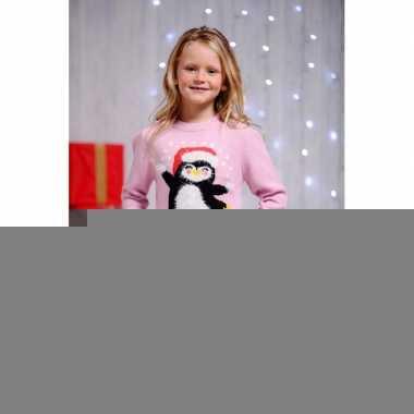 Foute kerst print trui roze voor kinderen