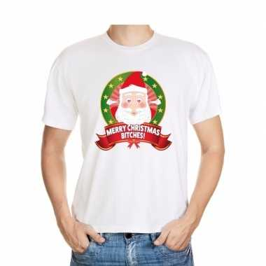 Foute kerst t-shirt merry christmas bitches voor heren