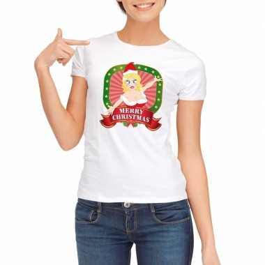 Foute kerst t-shirt wit merry christmas voor dames