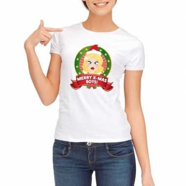 Foute kerst t-shirt wit merry x-mas boys voor dames