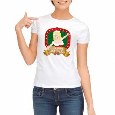 Foute kerst t-shirt wit touch my jingle bells voor dames