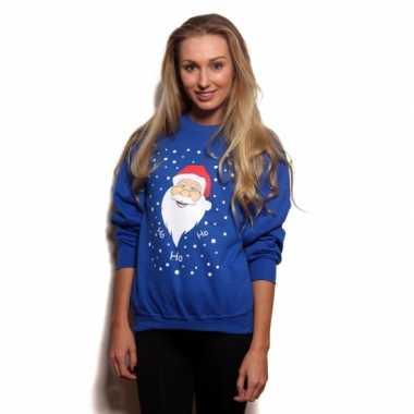 Foute kerstman print truien blauw
