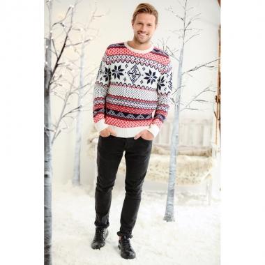 Foute kerstprint trui rood wit en blauw