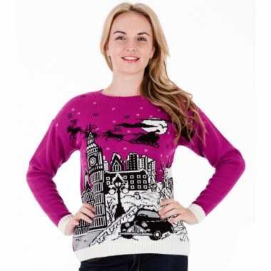 Foute print dames truien paars london