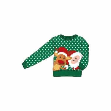 Foute print kids trui met kerstman en rendier