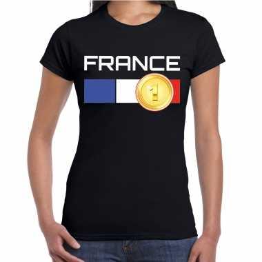 France / frankrijk landen t-shirt zwart dames