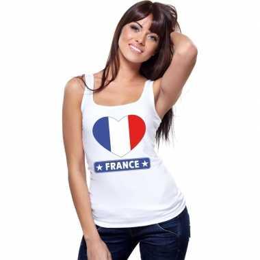 Frankrijk hart vlag singlet shirt/ tanktop wit dames