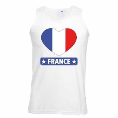 Frankrijk hart vlag singlet shirt/ tanktop wit heren
