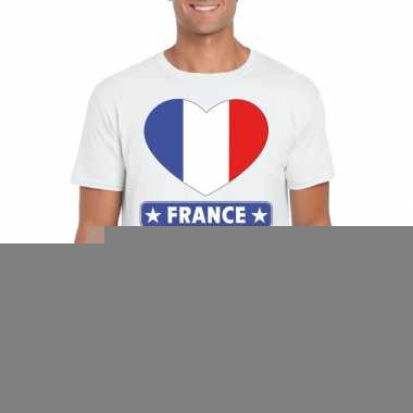 Frankrijk hart vlag t-shirt wit heren trend
