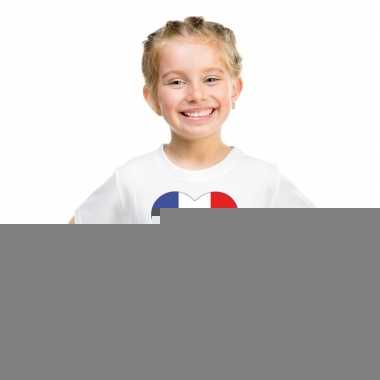 Frankrijk hart vlag t-shirt wit jongens en meisjes