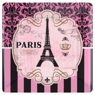 Frankrijk parijs thema bordjes roze 8 stuks