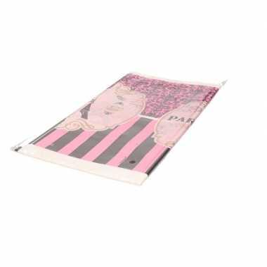 Frankrijk parijs thema tafelkleed roze 259 cm