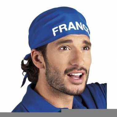 Frankrijk supporter bandana blauw