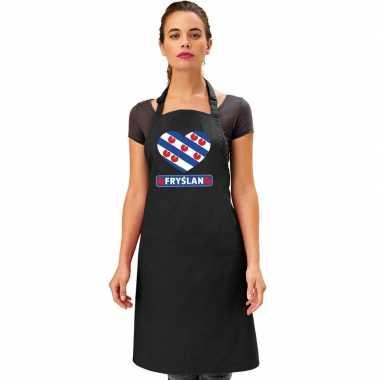 Friesland hart vlag barbecueschort/ keukenschort zwart