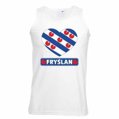 Friesland hart vlag singlet shirt/ tanktop wit heren